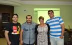 Leonardo Heffer (ascom Coren-CE), Gedalias Valentim (TI Cofen), Cynthia Ribeiro (ascom Coren-PE) e Selmo Cunha (Marketing Coren-PE) durante treinamento para implantação do Portal Padronizado dos Corens e Portal da Transparência.
